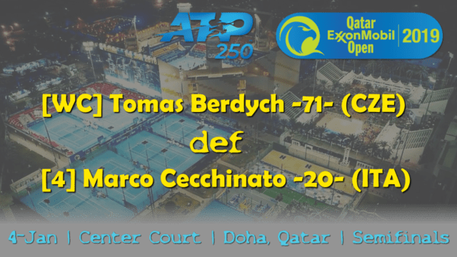 Announcer Andy Taylor. Qatar ExxonMobil Open 2019. Day 5. Semifinals. Match 3. Berdych def Cecchinato