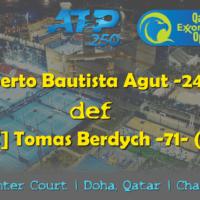 Announcer Andy Taylor. Qatar ExxonMobil Open 2019. Day 6. Singles Championship. Match 1. Bautista Agut def Berdych