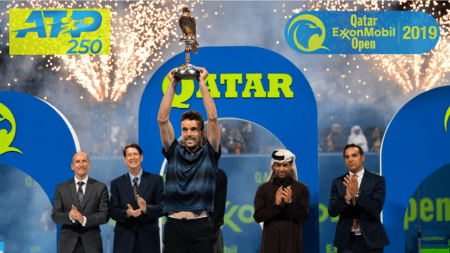 Announcer Andy Taylor. Qatar ExxonMobil Open 2019. Singles Champion Roberto Bautista Agut