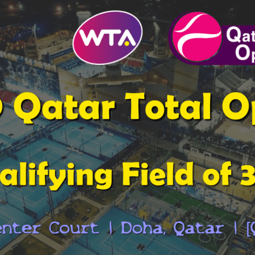Announcer Andy Taylor. Qatar Total Open 2019. Qualifying Draw