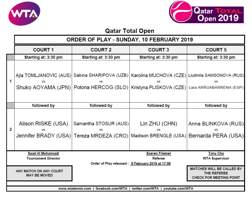 Announcer Andy Taylor. Qatar Total Open. 2019 Qualifying Round-2 Schedule