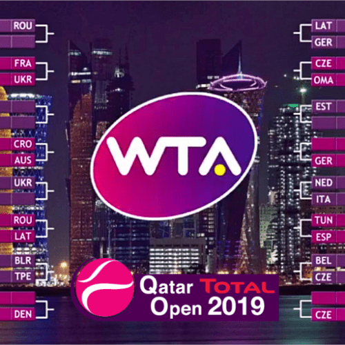 Announcer Andy Taylor. Qatar Total Open 2019. Draw Ceremony