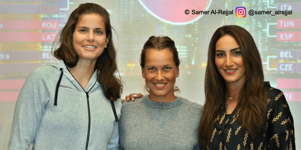 Announcer Andy Taylor. Qatar Total Open 2019. Julia Görges, Barbora Strycova, and Fatma Al Nabhani