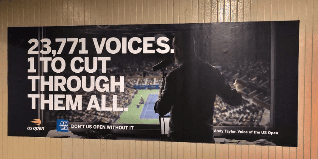 Announcer Andy Taylor. 2019 US Open. American Express NYC Subway Poster