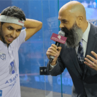 Andy Taylor Announcer. 2019 PSA Mens World Championship. Round 2. Abdulla Al Tamimi Success