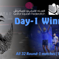 Andy Taylor Announcer. 2019 Qatar PSA Mens World Championship. Day-1 Results