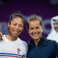 Doha Announcer Andy Taylor. Qatar Total Open 2020. Su-wei Hsieh Barbora Strycova Doubles Champions