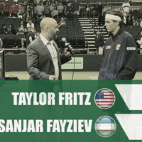 Announcer Andy Taylor. Davis Cup Qualifier 2020. Day1. Match2. Taylor Fritz